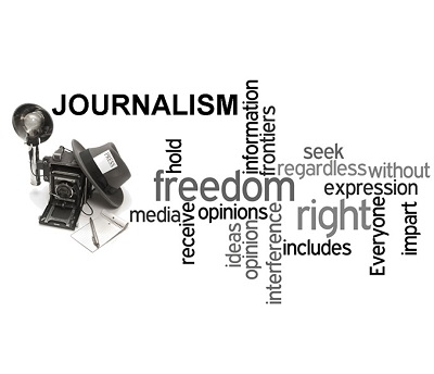 Words associated with Journalism in a black and white image.