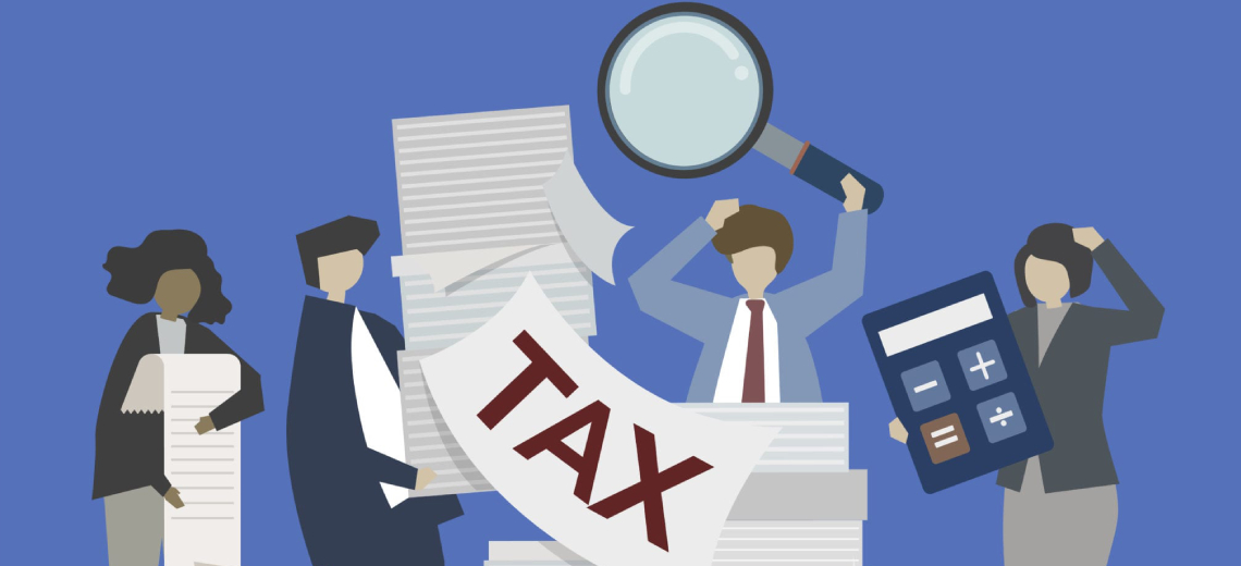 An animated image of team of journalists working on their professional tax.